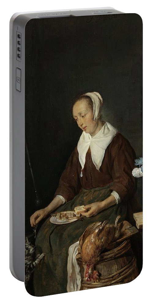Woman Eating Portable Battery Charger featuring the painting Woman Eating by MotionAge Designs