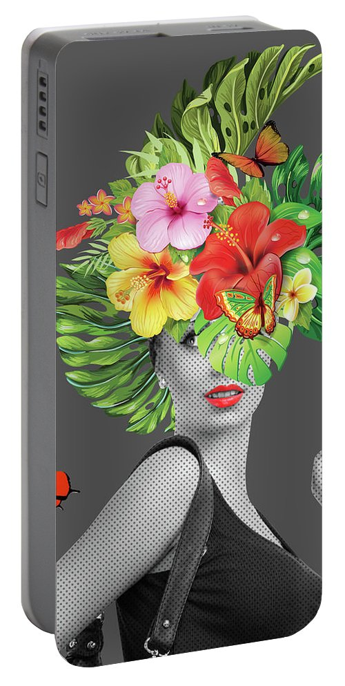 Woman Portable Battery Charger featuring the photograph Woman Floral by Mark Ashkenazi