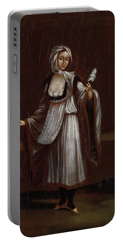 Woman From The Island Of Patmos Portable Battery Charger featuring the painting Woman From The Island Of Patmos by MotionAge Designs