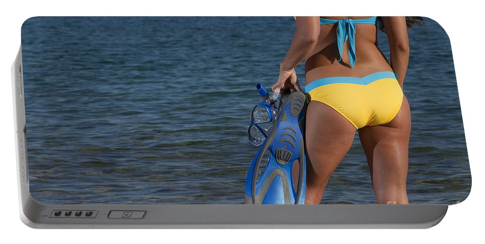 Snorkeling Portable Battery Charger featuring the photograph Woman Getting Ready To Go Snorkeling by Anthony Totah