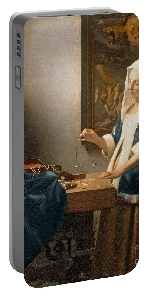 Vermeer Portable Battery Charger featuring the painting Woman Holding A Balance by Jan Vermeer