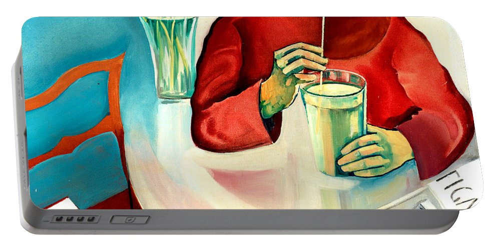 Bo Portable Battery Charger featuring the painting Woman In A Cafe by Bo von Zweigbergk