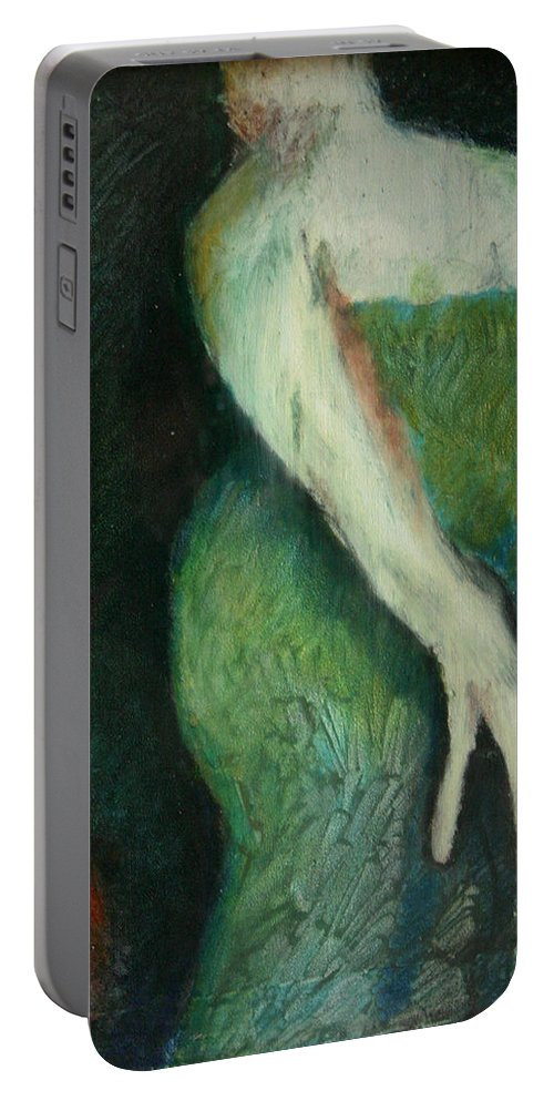 Painting Portable Battery Charger featuring the painting Woman In Green by Gideon Cohn