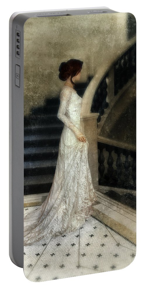 Woman Portable Battery Charger featuring the photograph Woman In Lace Gown On Staircase by Jill Battaglia