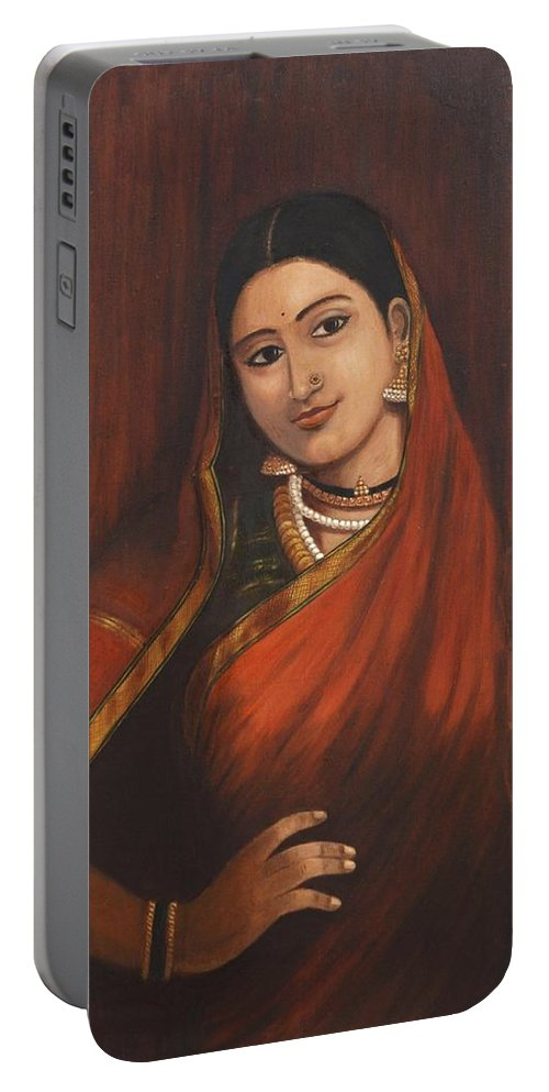 Woman Portable Battery Charger featuring the painting Woman In Saree - After Raja Ravi Varma by Usha Shantharam