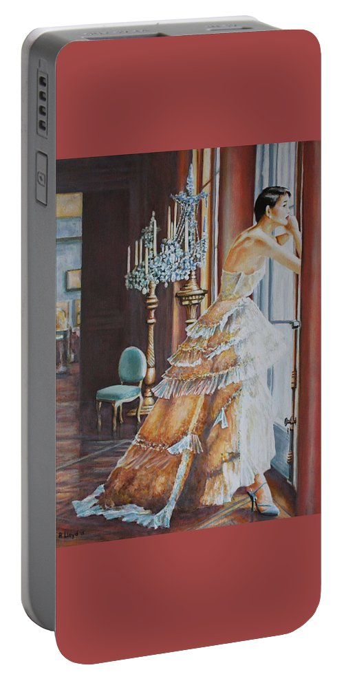 Woman Window Light Ballgown Dress Chandeliers Portable Battery Charger featuring the painting Woman Looking Out Of A Window by Andy Lloyd