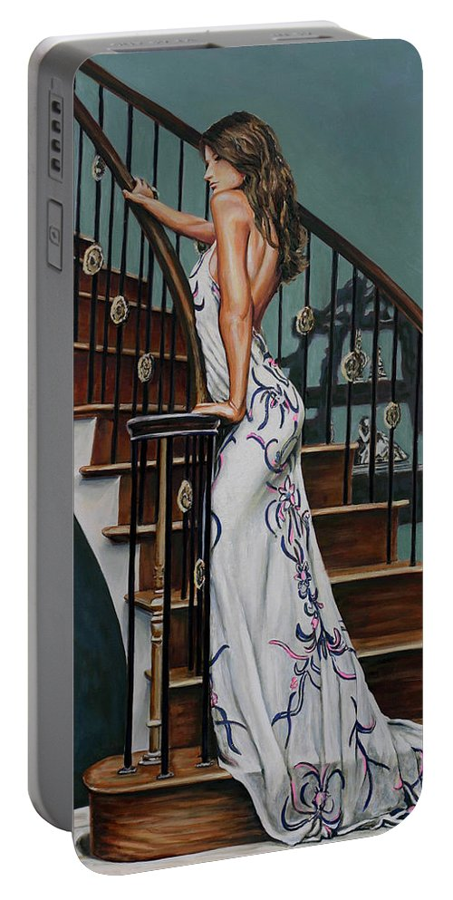 Woman Staircase Steps Banister Wood Dress Gown Elegant Beautiful Acrylic Figurative Andy Lloyd Realism Portable Battery Charger featuring the painting Woman On A Staircase 3 by Andy Lloyd
