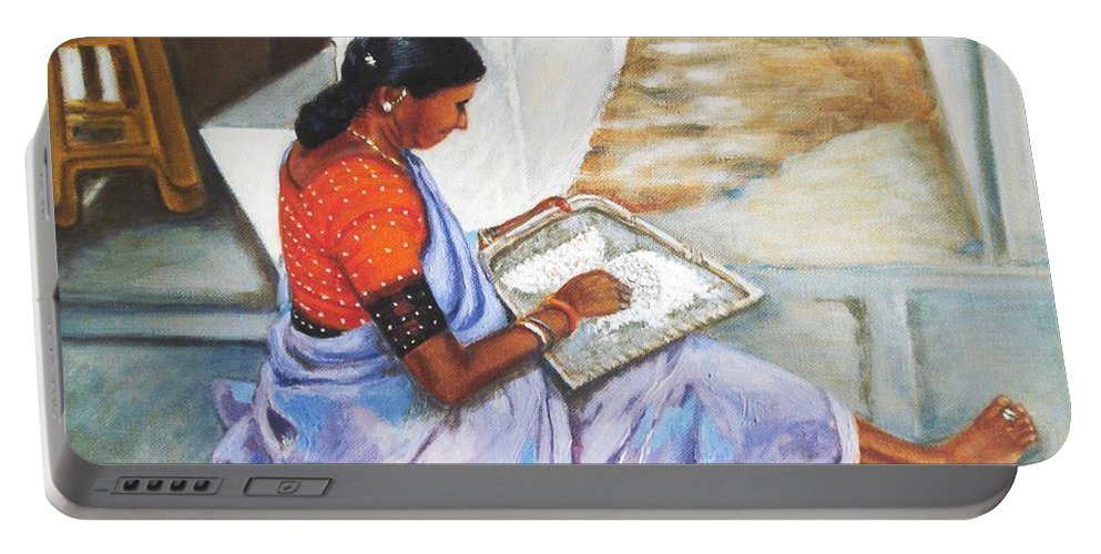 Usha Portable Battery Charger featuring the painting Woman Picking Rice by Usha Shantharam