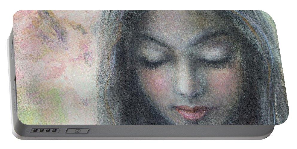 Christian Portable Battery Charger featuring the painting Woman Praying Meditation Painting Print by Svetlana Novikova
