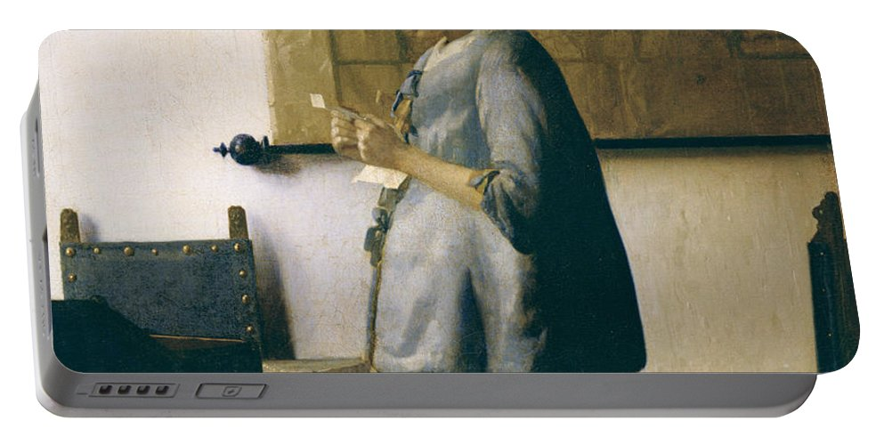 Woman Reading A Letter Portable Battery Charger featuring the painting Woman Reading A Letter by Jan Vermeer