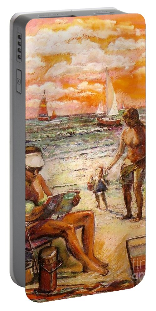 Beach Scene Portable Battery Charger featuring the painting Woman Reading On The Beach by Stan Esson