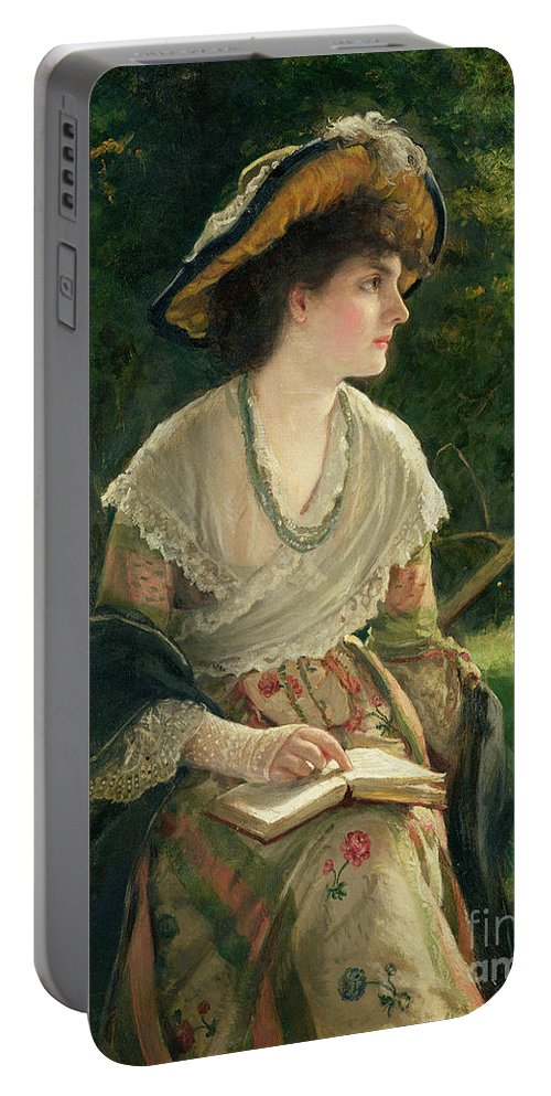 Portrait; Female Portable Battery Charger featuring the painting Woman Reading by Robert James Gordon