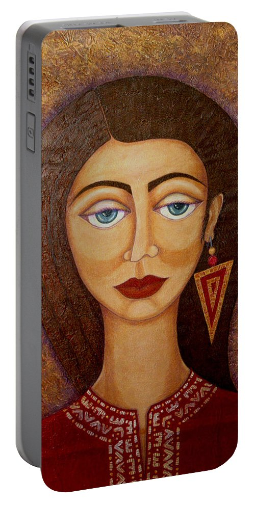 Market Portable Battery Charger featuring the painting Woman S Market by Madalena Lobao-Tello
