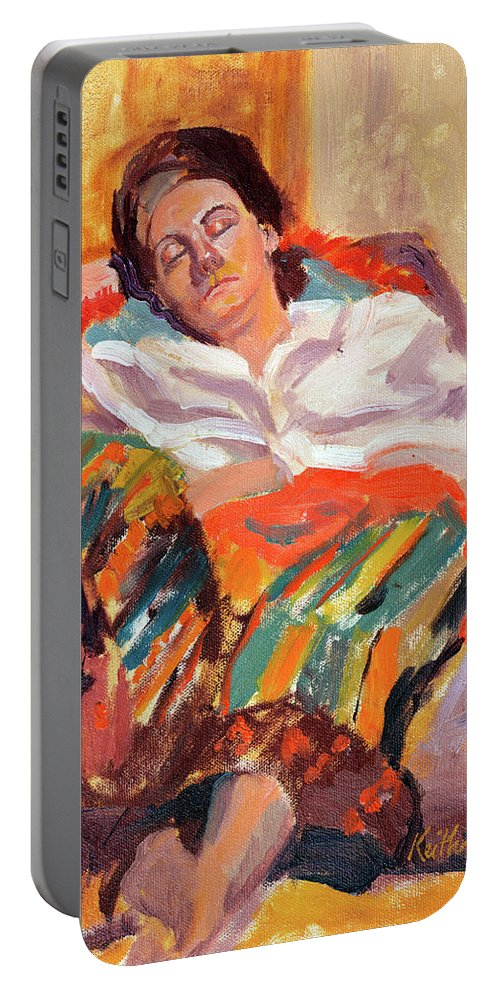 Portrait Portable Battery Charger featuring the painting Woman Sleeping by Keith Burgess