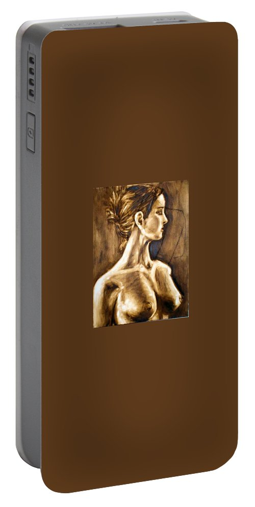 Portable Battery Charger featuring the painting Woman by Thomas Valentine