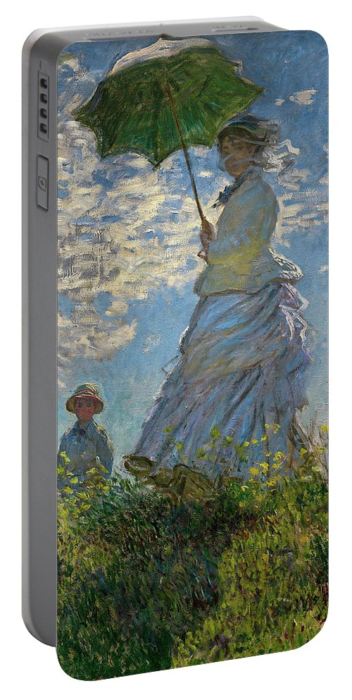 Woman With A Parasol Portable Battery Charger featuring the painting Woman With A Parasol, Madame Monet And Her Son, Claude Monet Digitally Enhanced by Claude Monet