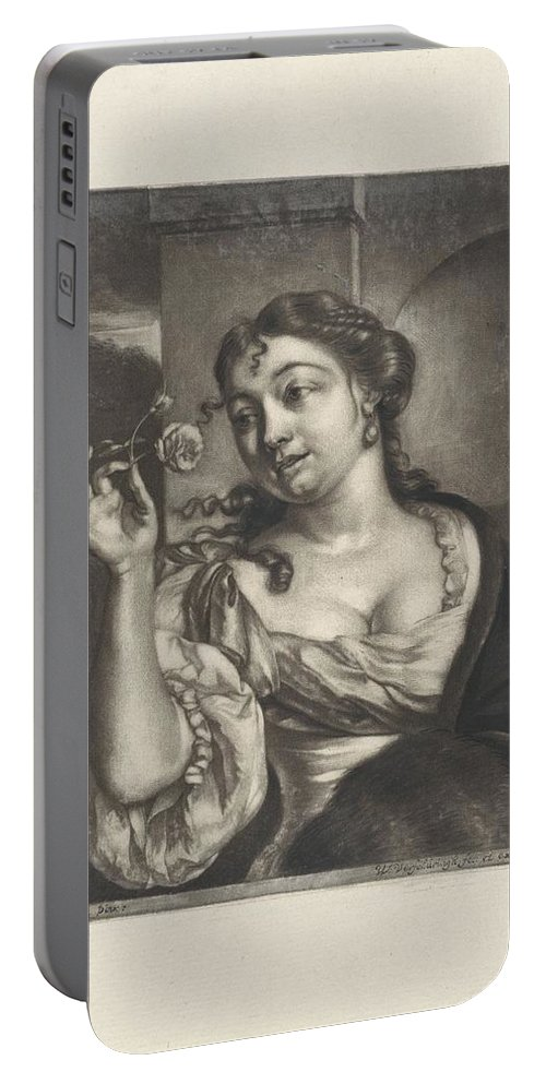 Woman With A Rose Portable Battery Charger featuring the painting Woman With A Rose by MotionAge Designs