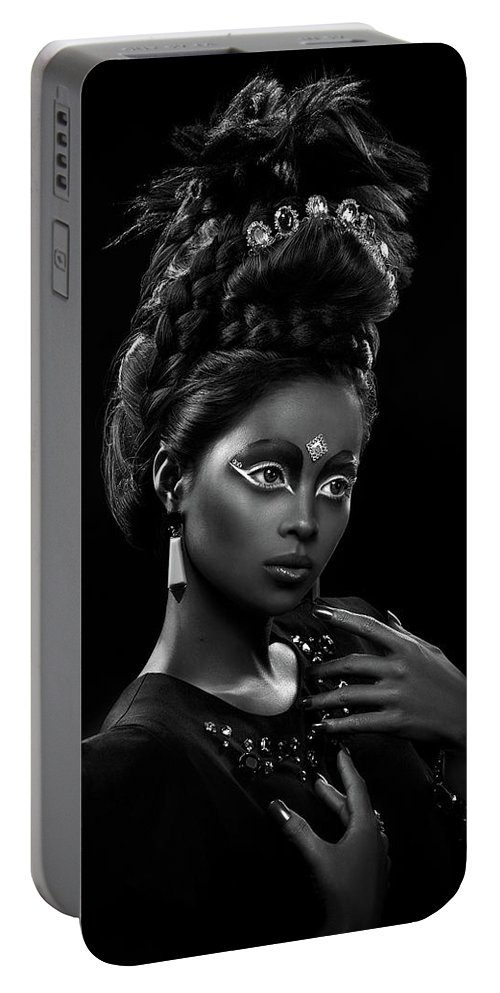 Black And White Portable Battery Charger featuring the photograph Woman With Beehive Hairstyle And Jewelry Headdress Owner by Erich Caparas