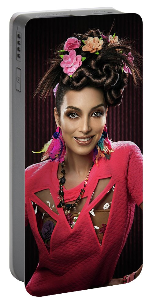Pink Dress Portable Battery Charger featuring the photograph Woman With Floral Headdress In Pink Dress by Erich Caparas