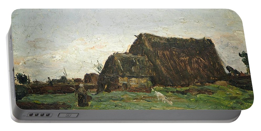 German Art Portable Battery Charger featuring the painting Woman With Goat by Otto Modersohn