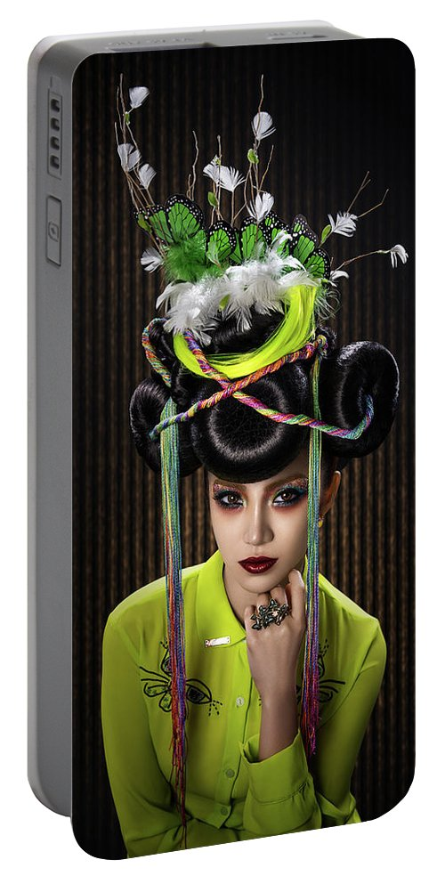 Yellow Dress Portable Battery Charger featuring the photograph Woman With Yellow Dress With Feather And Leaf Headdress by Erich Caparas