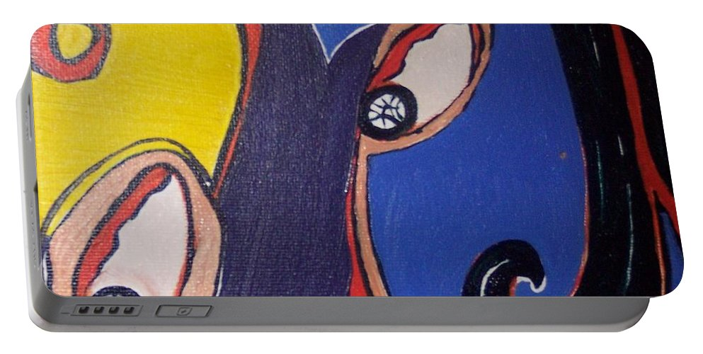Abstract Paintings Portable Battery Charger featuring the painting Woman30 by Seon-Jeong Kim