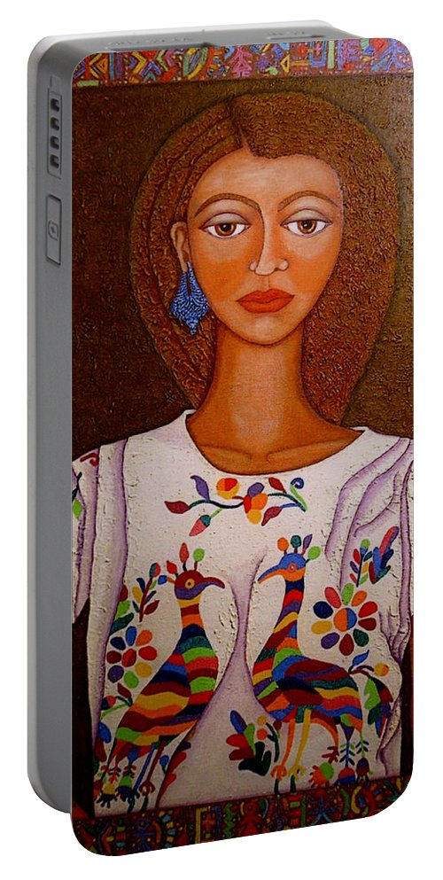 Woman Portable Battery Charger featuring the painting Women Below And Beyond The Sea by Madalena Lobao-Tello
