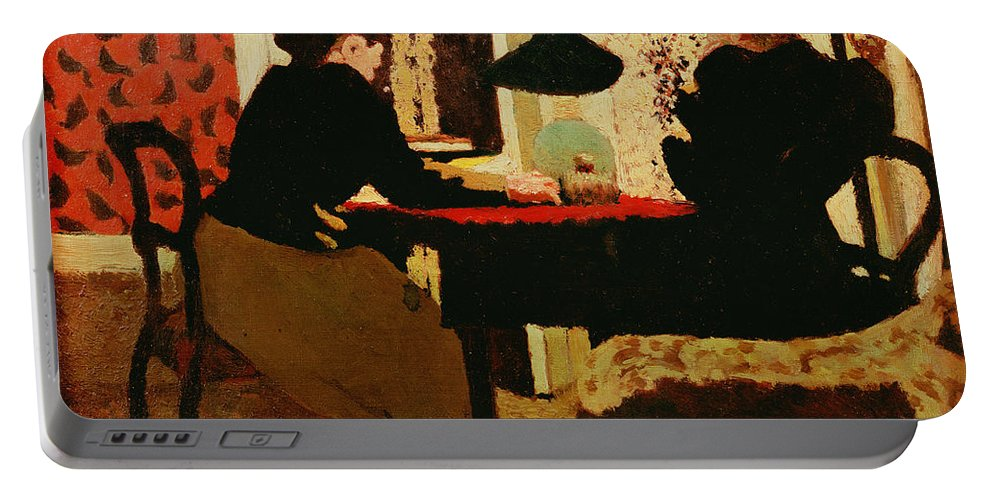 Women Portable Battery Charger featuring the painting Women By Lamplight by vVuillard