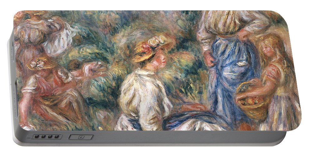 Women Portable Battery Charger featuring the painting Women In A Landscape by Renoir