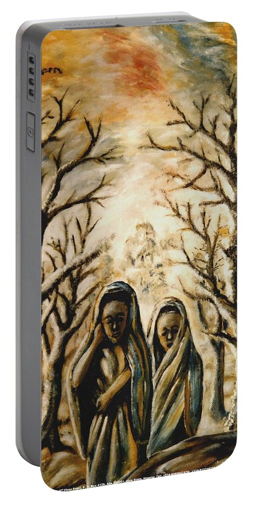 Women Portable Battery Charger featuring the painting Women In Harmattan by Mbonu Emerem