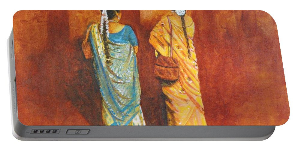 Women Portable Battery Charger featuring the painting Women In Sarees by Usha Shantharam