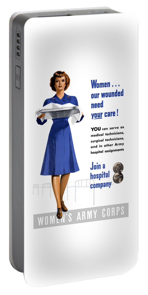 Nurse Portable Battery Charger featuring the painting Women's Army Corps - Ww2 by War Is Hell Store