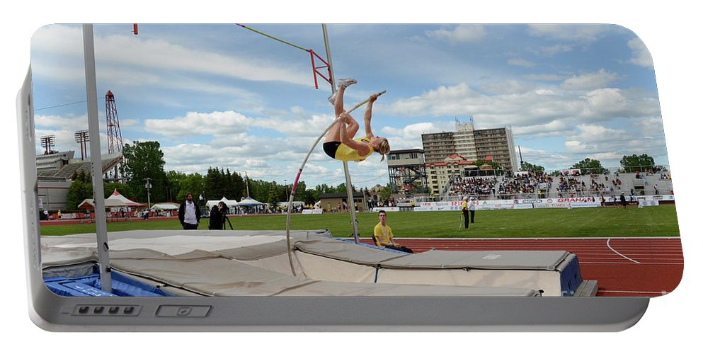 Canadian Track And Field National Championships 2011 Portable Battery Charger featuring the photograph Womens Pole Vault 2 by Bob Christopher