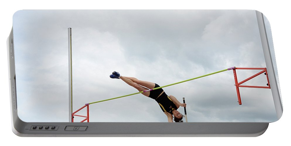 Canadian Track And Field National Championships 2011 Portable Battery Charger featuring the photograph Womens Pole Vault 3 by Bob Christopher