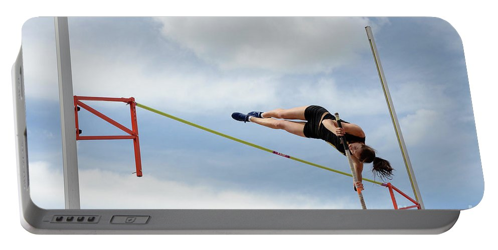 Canadian Track And Field National Championships 2011 Portable Battery Charger featuring the photograph Womens Pole Vault by Bob Christopher