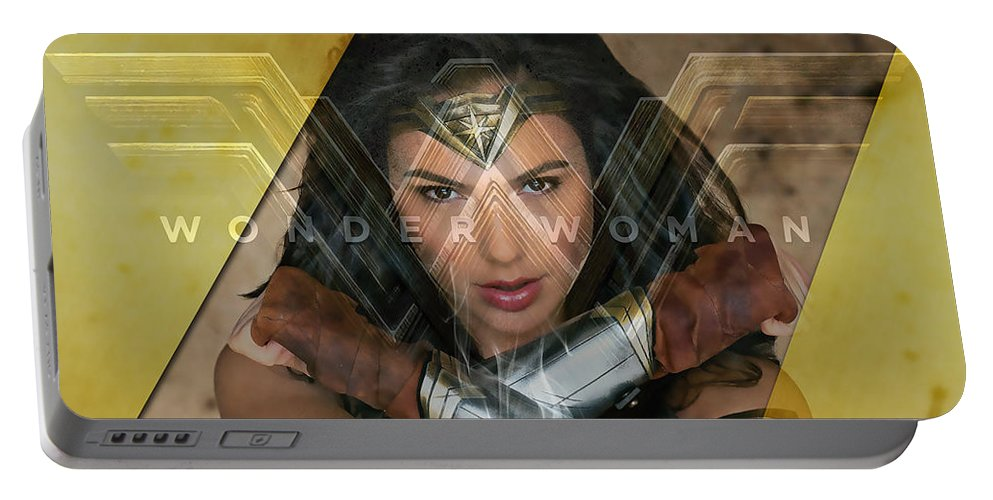 Wonder Woman Portable Battery Charger featuring the mixed media Wonder Woman Art by Marvin Blaine