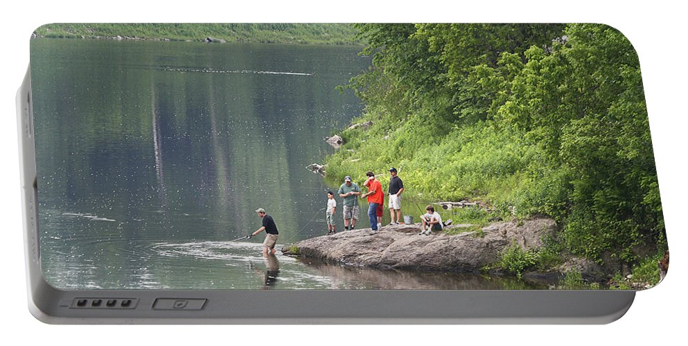 River Portable Battery Charger featuring the photograph Wonderful Day Of Fishing by Deborah Benoit