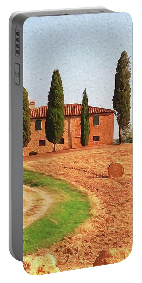 Tuscany Landscape Portable Battery Charger featuring the painting Wonderful Tuscany, Italy - 02 by Andrea Mazzocchetti