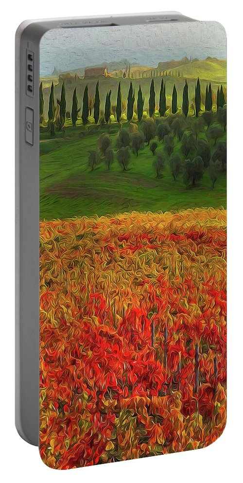 Tuscany Landscape Portable Battery Charger featuring the painting Wonderful Tuscany, Italy - 07 by Andrea Mazzocchetti