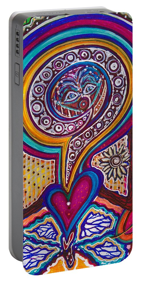 Heart Portable Battery Charger featuring the painting Wondering What's Next - V by Laurel Rosenberg