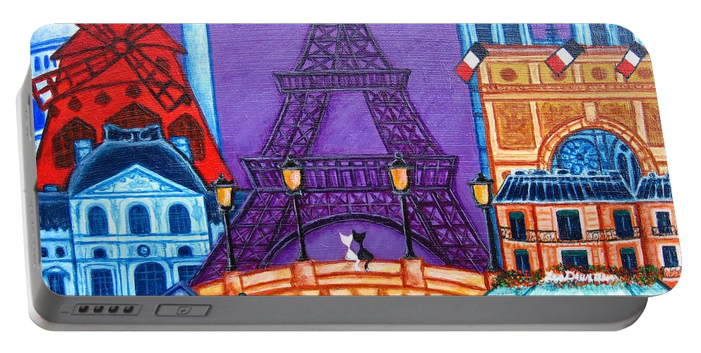 Paris Portable Battery Charger featuring the painting Wonders Of Paris by Lisa Lorenz