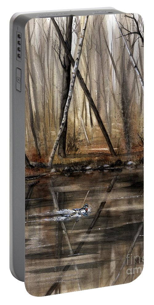 Nature Portable Battery Charger featuring the painting Wood Duck On Pond by Mary Tuomi
