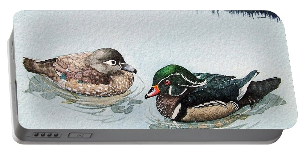 Ducks Portable Battery Charger featuring the painting Wood Ducks by Gale Cochran-Smith