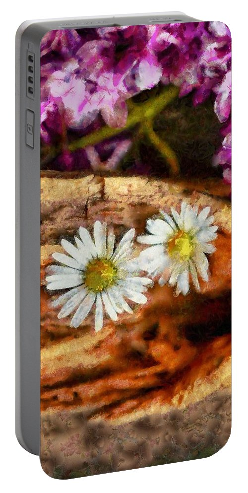Old Portable Battery Charger featuring the painting Wood - Id 16235-142752-5578 by S Lurk