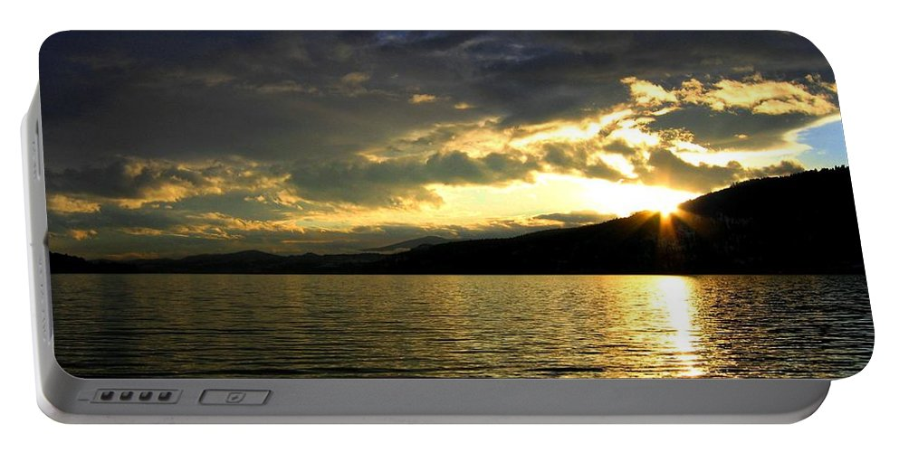 Sunburst Portable Battery Charger featuring the photograph Wood Lake Sunburst by Will Borden