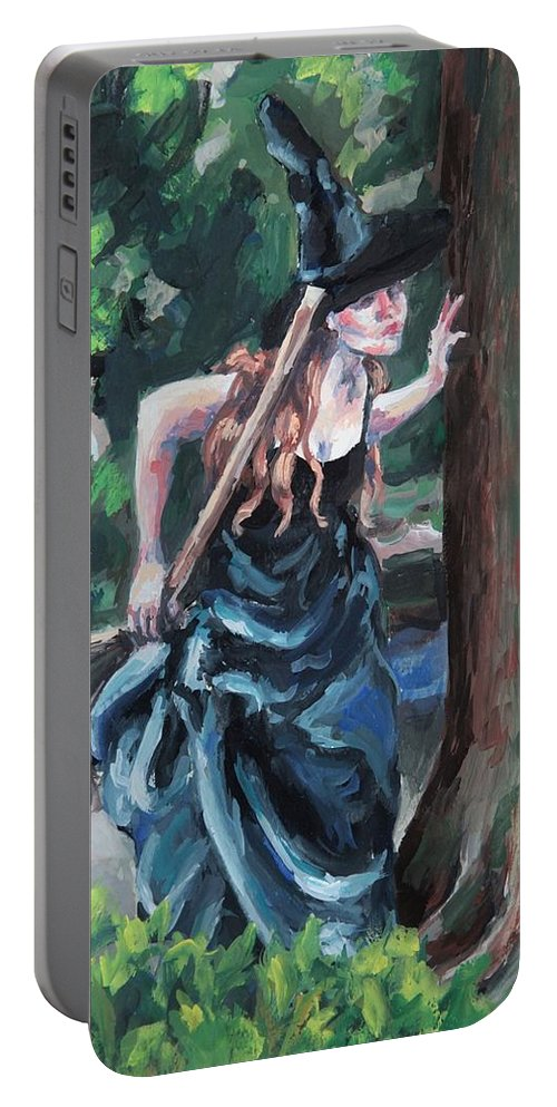 Figure Portable Battery Charger featuring the painting Wood Witch by Kelly Margo