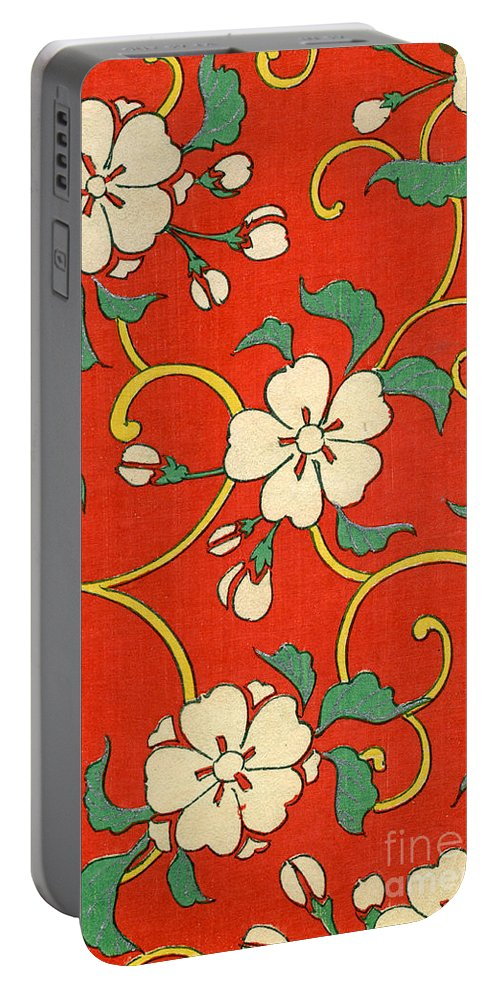 Red Portable Battery Charger featuring the painting Woodblock Print of Apple Blossoms by Japanese School