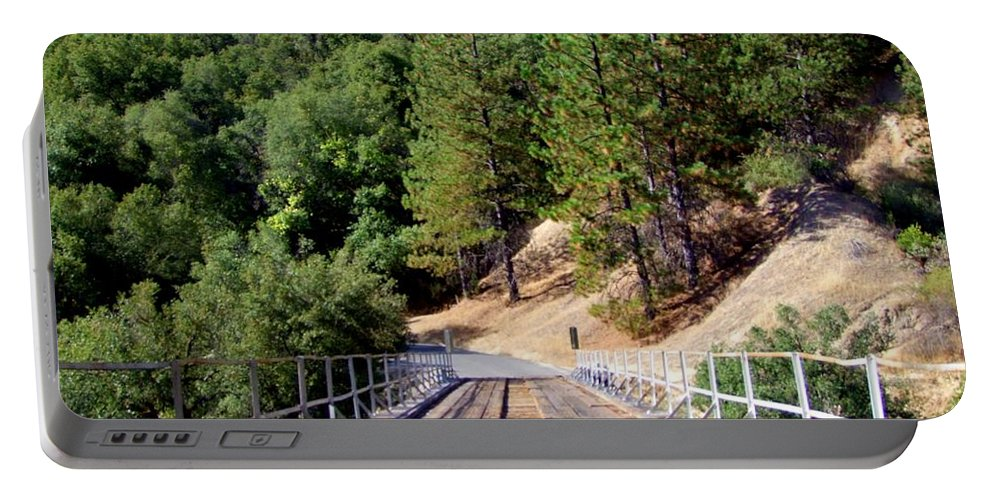 Wood Bridge Portable Battery Charger featuring the photograph Wooden Bridge Over Deep Gorge by Mary Deal