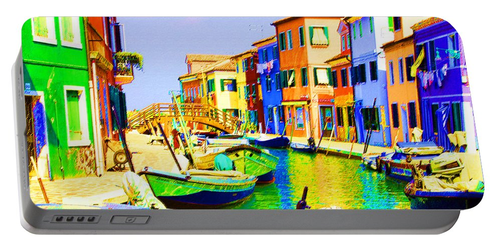 Burano Portable Battery Charger featuring the pastel Wooden Bridge To Despar by Donna Corless