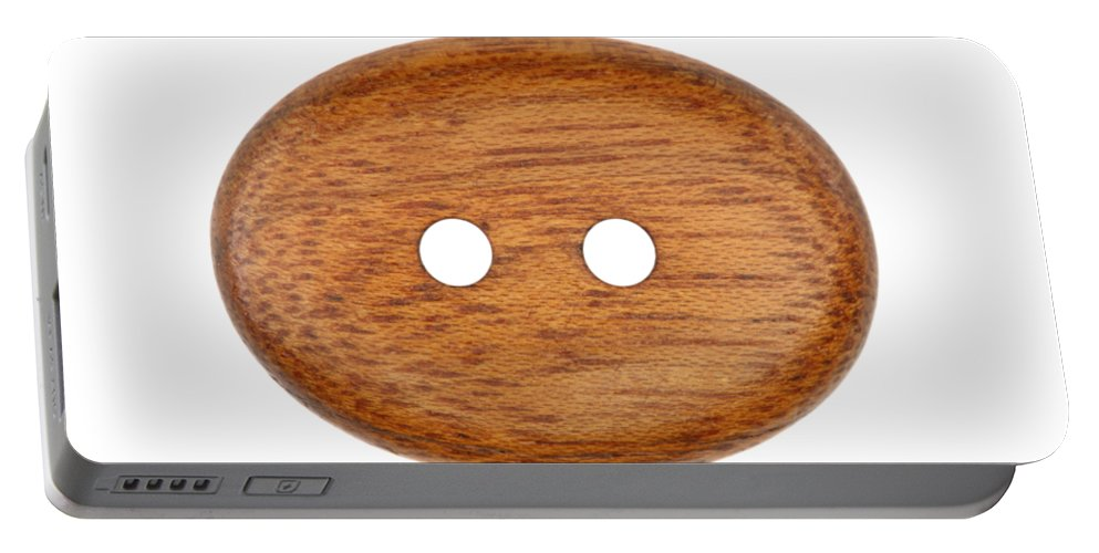 Button Portable Battery Charger featuring the photograph Wooden Button by Michal Boubin